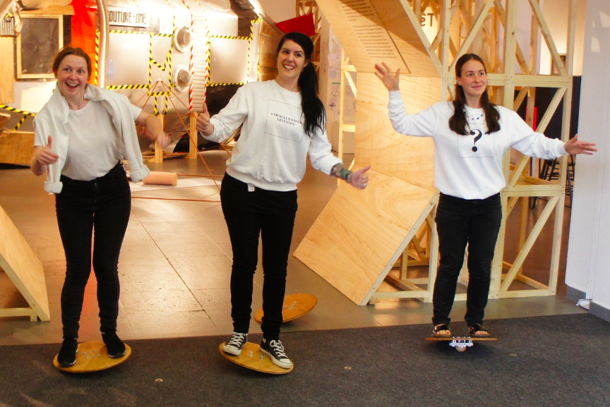 People Playing With Mifactori Balance Boards